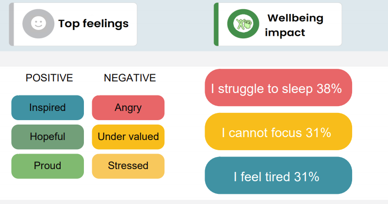 An image explaining the positive and negative wellbeing challenges